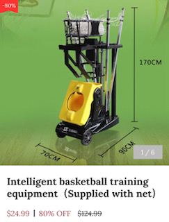 A scam website makes fake price for our basketball shooting machine